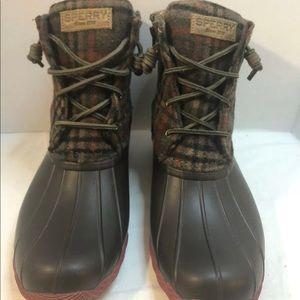 Sperry Topsider Duck Boots 9.5 Womens Brown Wool